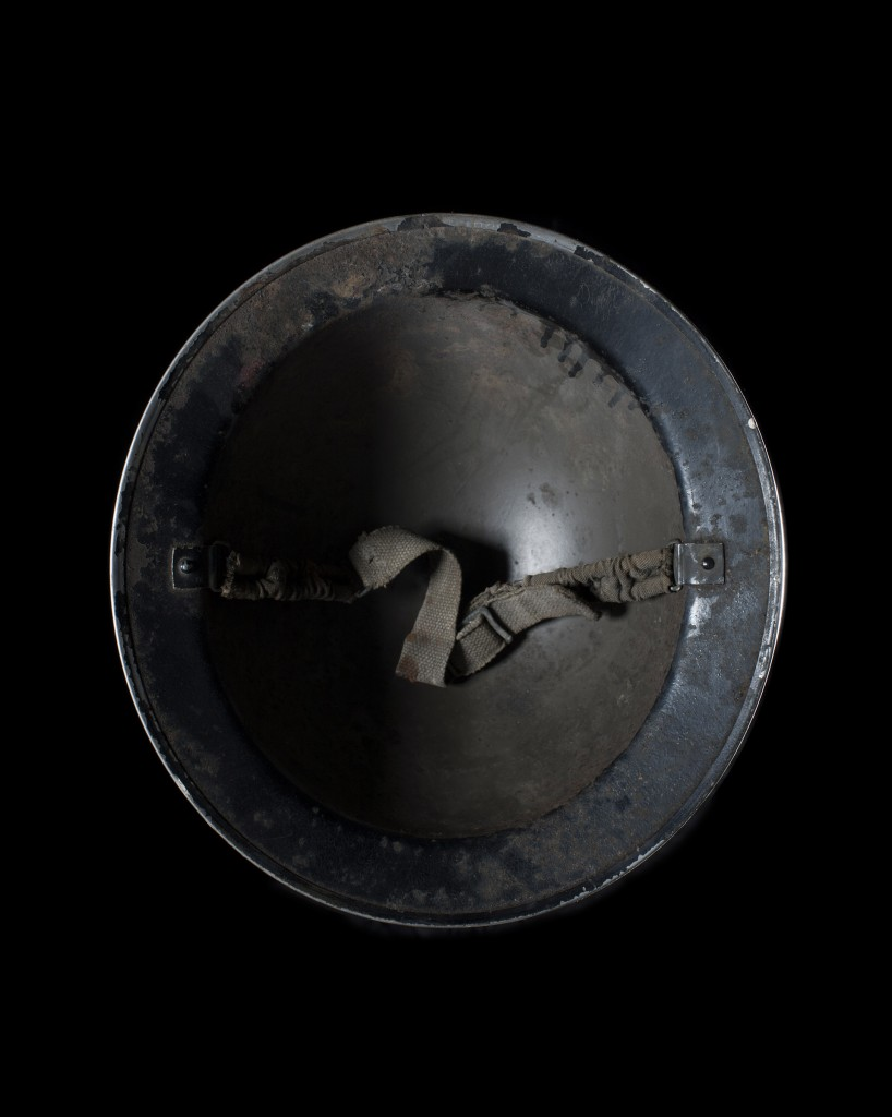 Photograph of a Air raid warden's hat from the project Head Space.