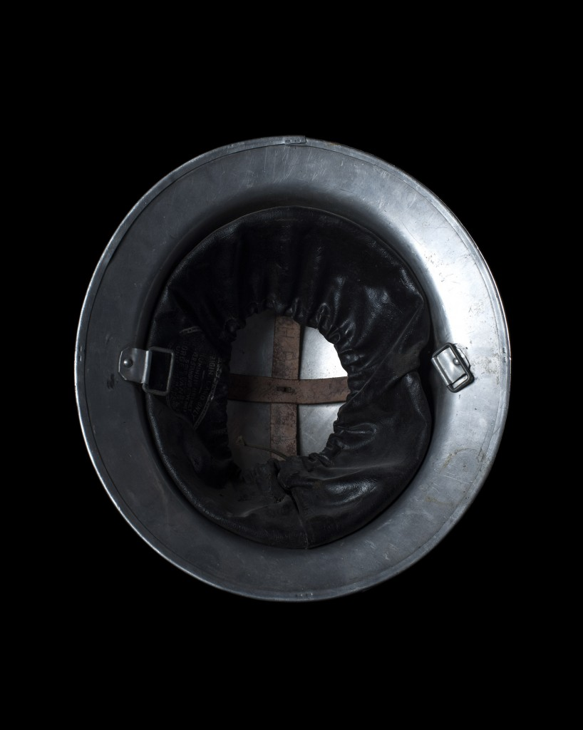 Photograph of a American reservist's helmet from the project Head Space.