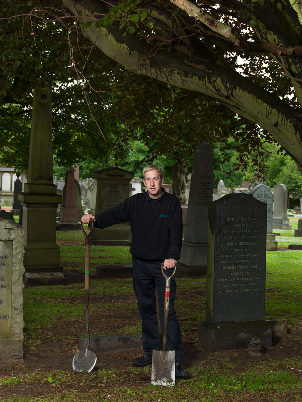 Kevin Gill, City of Edinburgh Council Gravedigger Southsiders: Portrait of a Community is an artistic project by Peter Dibdin using both photography and audio, in print and online to celebrate and explore perceptions around the identity of the Southside community of Edinburgh, Scotland. All 32 portraits and their audio narratives can be viewed at http://www.edinburghsouthsiders.co.uk