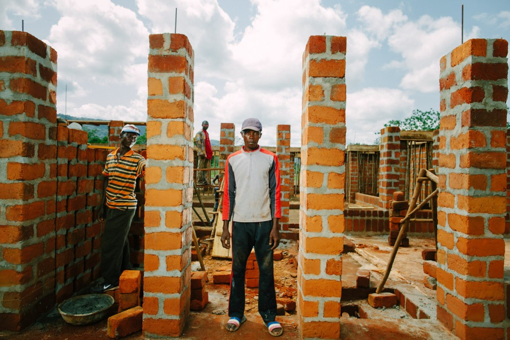 Brick layer Lahai Samai Ngabulango on the building site for the new Swawou School Sierra Leone. Lahai was one of the most experienced brickies on site.