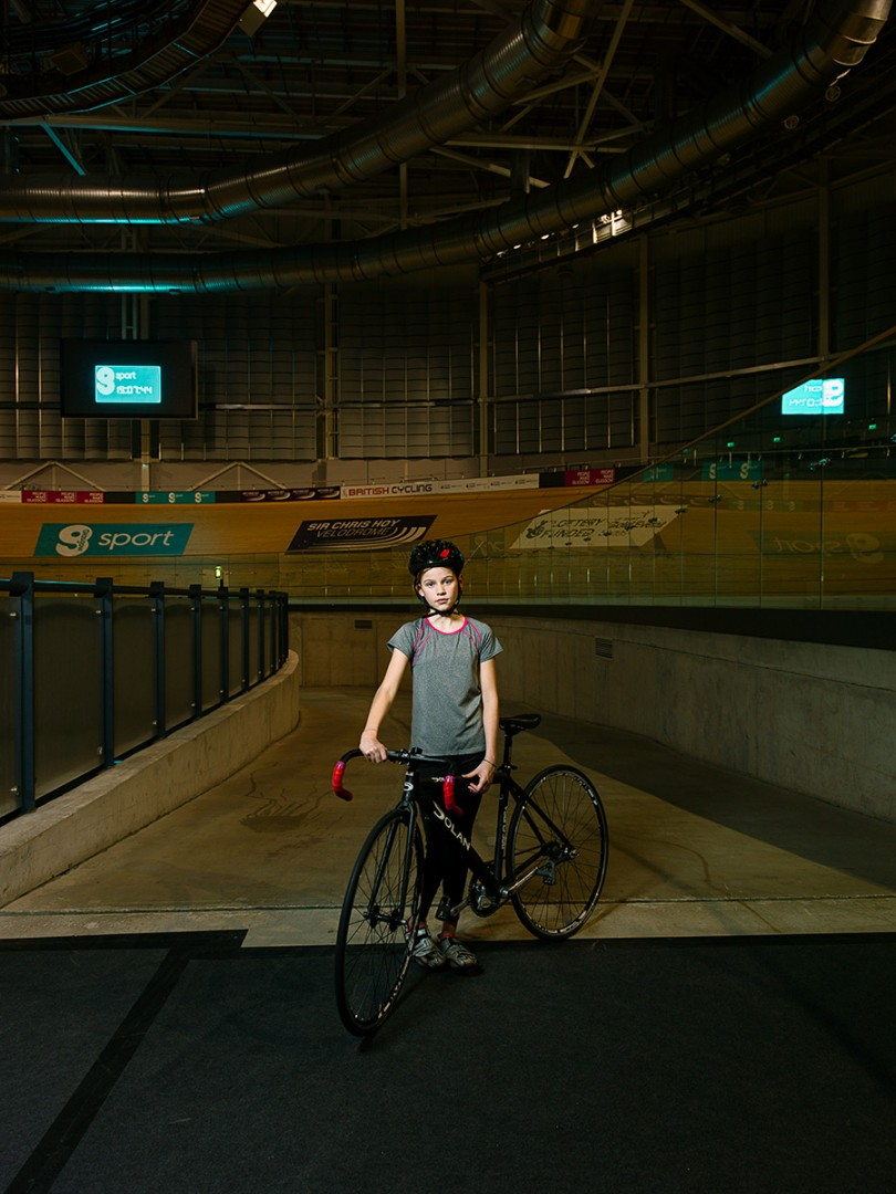 Nuala Hoyle, Velodrome cyclist at the Sir Chris Hoy Velodrome Glasgow. Shot for the GREEN CITY Exhibition at the Lighthouse, Glasgow.