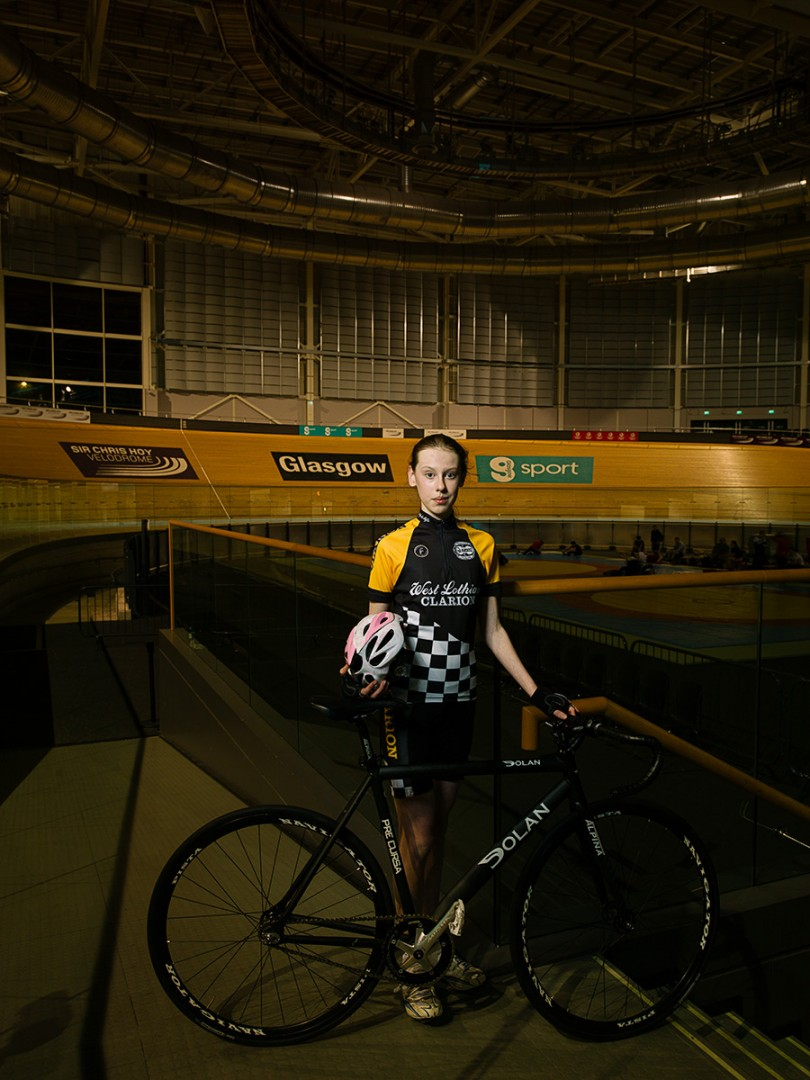 Alison Bryce, Velodrome cyclist at the Sir Chris Hoy Velodrome Glasgow. Shot for the GREEN CITY Exhibition at the Lighthouse, Glasgow.