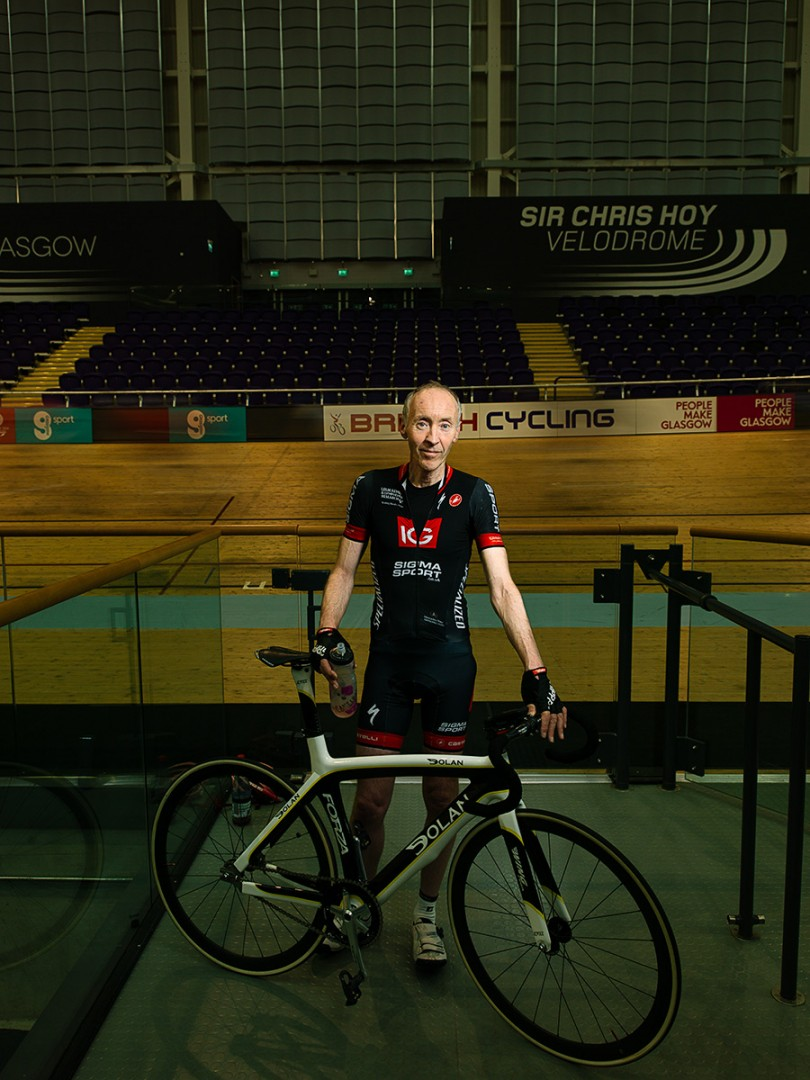 Donald Sharp, Velodrome cyclist at the Sir Chris Hoy Velodrome Glasgow. Shot for the GREEN CITY Exhibition at the Lighthouse, Glasgow.