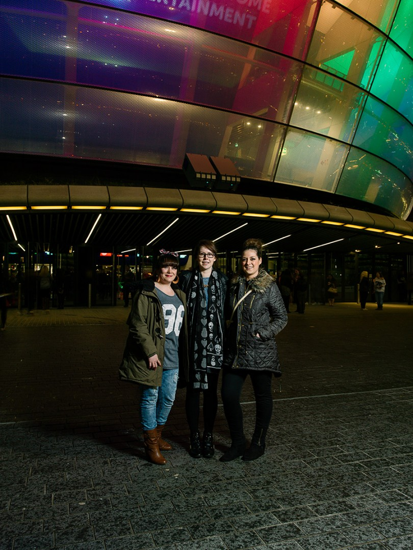 Karen Roberts, Linsey Barthwick, Chelsey Fairburn at the SECC Hydro to watch Beyonce. Shot for the GREEN CITY Exhibition at the Lighthouse, Glasgow.