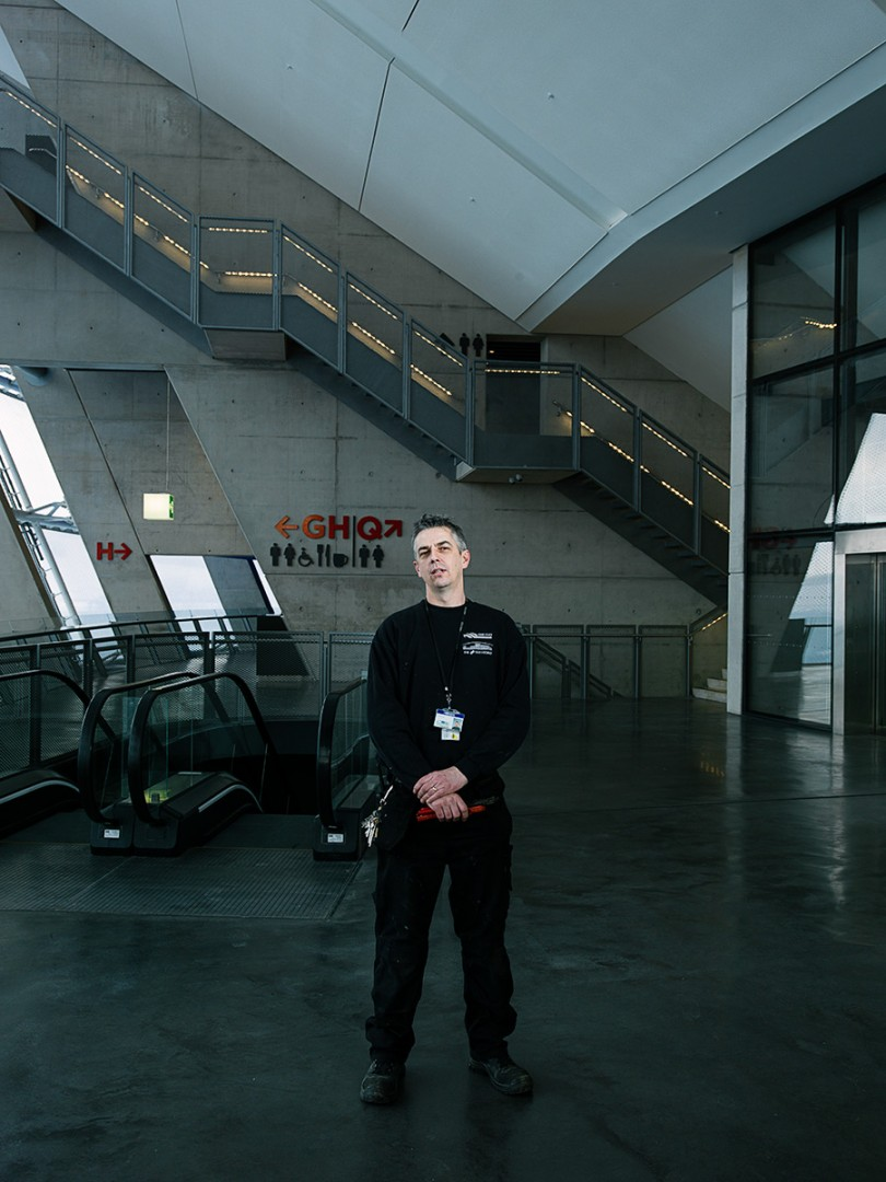 Ian Fleming, Maintenance worker at the SECC Hydro , Glasgow. Shot for the GREEN CITY Exhibition at the Lighthouse, Glasgow.