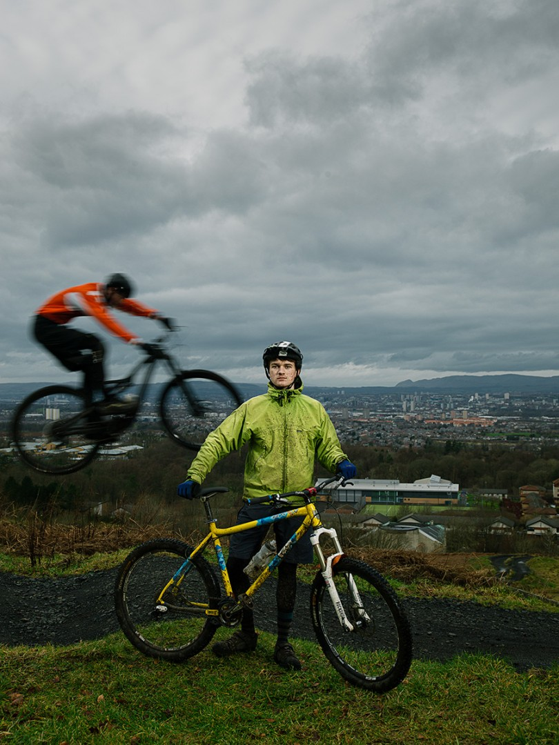 Miles Trotter, Mountain Bike Trial Rider at Cathkin Braes Country Park Mountain Bike Trails, Glasgow. Shot for the GREEN CITY Exhibition at the Lighthouse, Glasgow.
