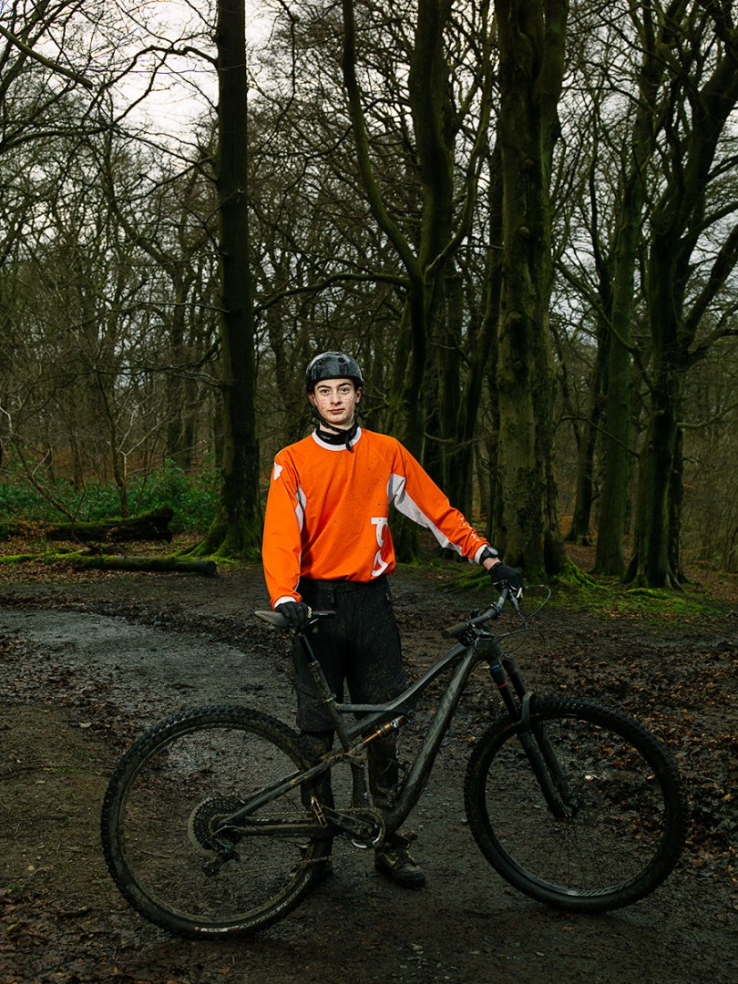 Greg Jolf, Mountain Bike Trial Rider at Cathkin Braes Country Park Mountain Bike Trails, Glasgow. Shot for the GREEN CITY Exhibition at the Lighthouse, Glasgow.