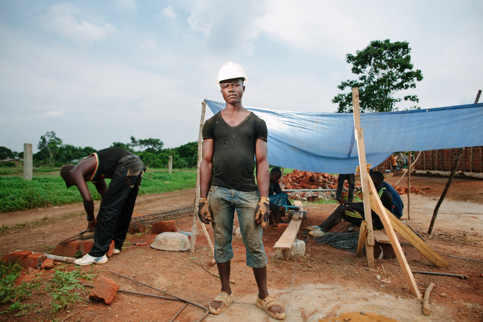 Sheku Komba, labourer and steel worker on site.