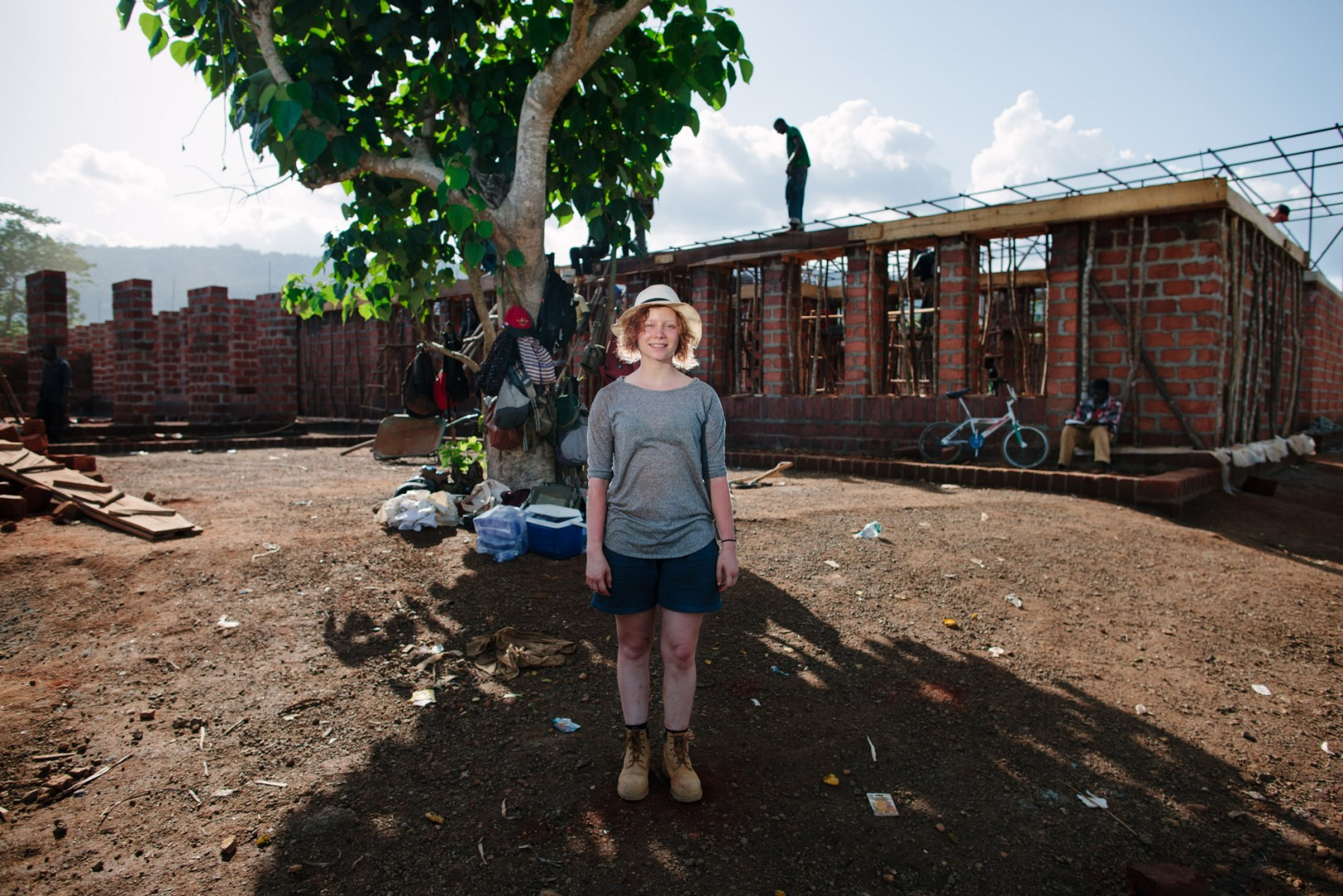 Aniya Savage, student architect volunteering on Orkidstudios build of the new Swawou School.